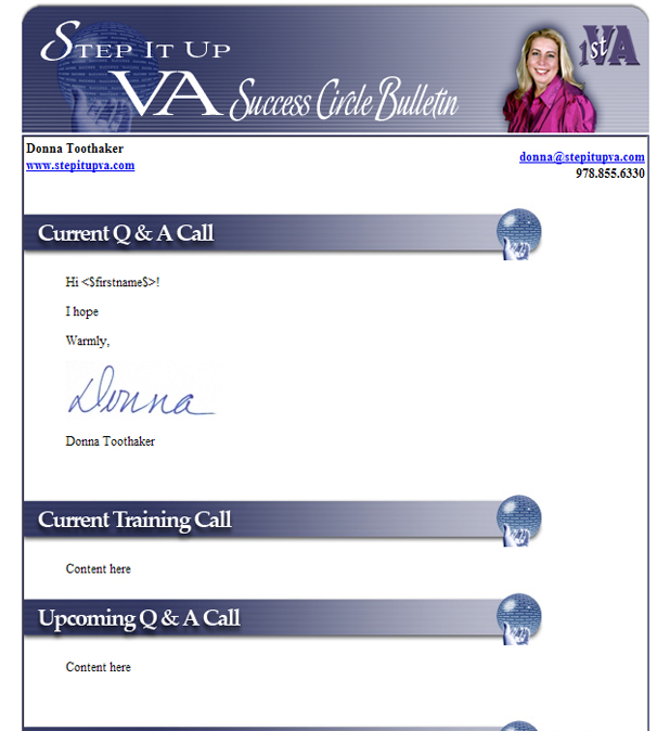 Donna Toothaker, VA ezine template design by DocUmeant Designs
